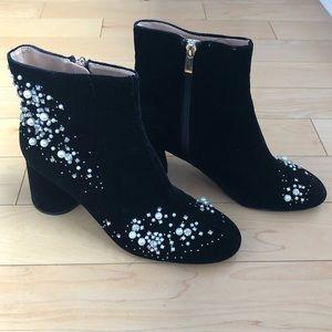 Zara pearl embellished velvet black boots size 40